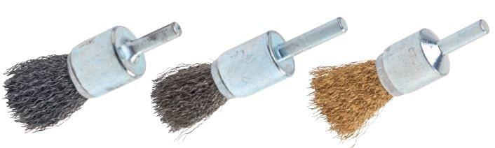 cepillo industrial circular tipo pincel con eje púa acero, inox y latón